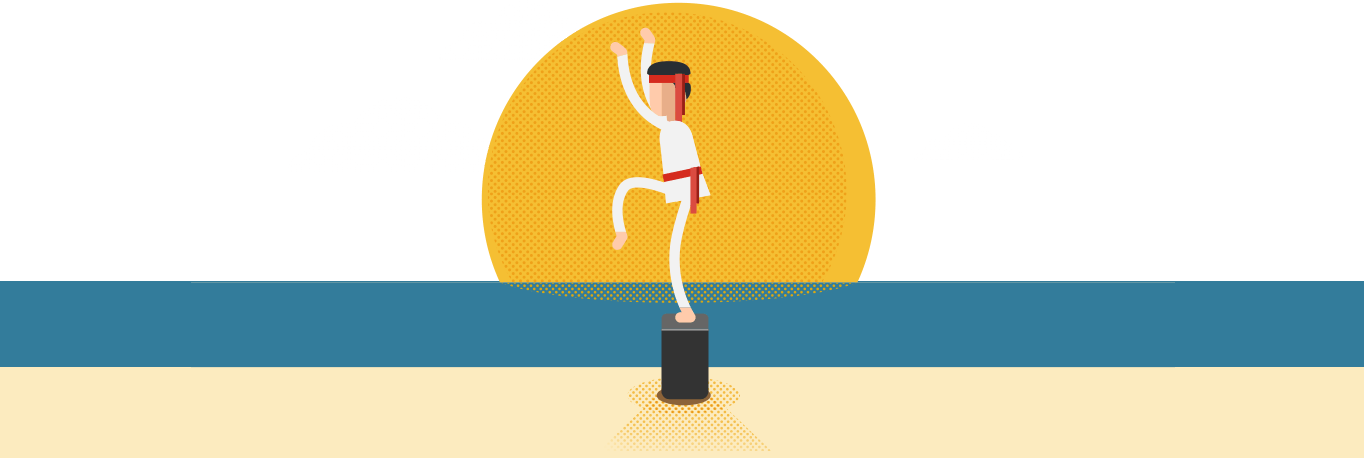 Rest Karate Kid style illustration