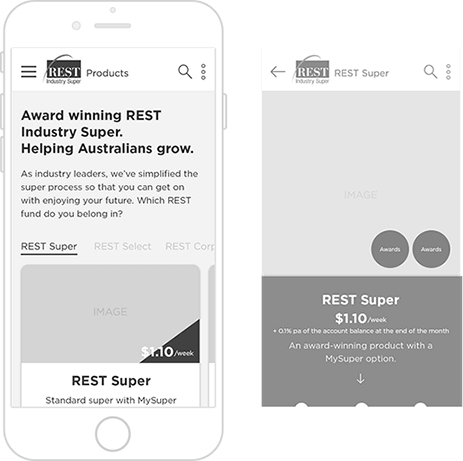Rest website mobile wireframes